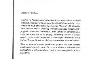 List gratulacyjny Senatora RP Grzegorza Napieralskiego